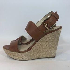 MICHAEL KORS Hemp Wedge Leather Sandals
